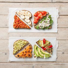 Wat is gezond en lekker broodbeleg?   Zuivelproducten: 20+ en 30+ kaas, hüttenkäse, zuivelspread, mozzarella, zachte geitenkaas Ei   Noten en notenpasta en pindakaas met 100% pinda's of noten, zonder toegevoegd zout of suiker Zelfgemaakte hummus (kikkererwtenspread) of andere bonenspread zonder zout Vis zoals zalm, makreel, forel, tonijn of haring Groente en fruit, zoals tomaat, komkommer, paprika, radijs, gebakken champignons, gegrilde courgette, avocado, banaan, appel en aardbei