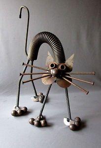 VINTAGE-Hand-Made-YARD-ART-CAT-Welded-Steel-Folk-Art-17-1-2-JUNK-SCULPTURE