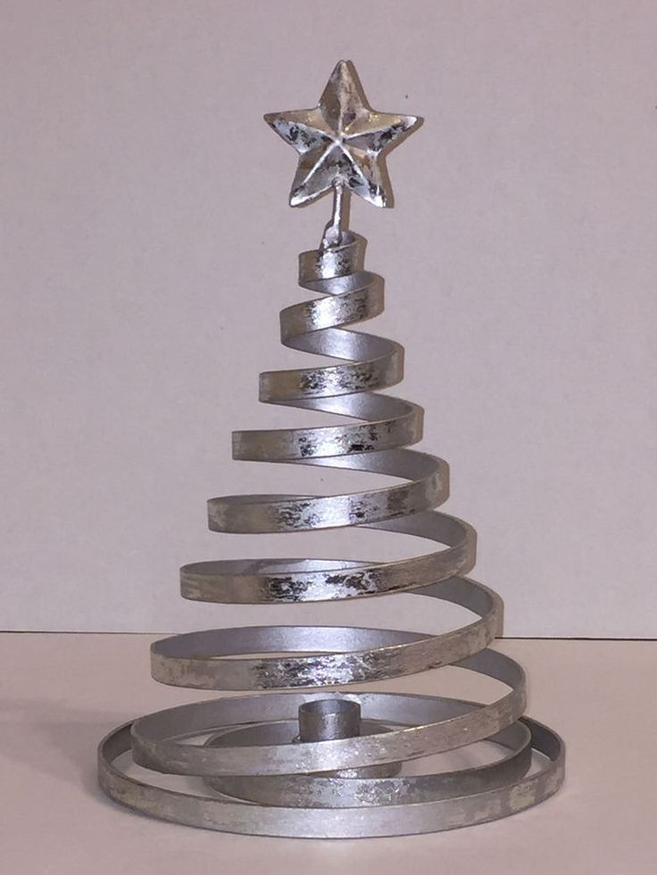 Sturdy Distressed Silver Candleholder Metal Spiral