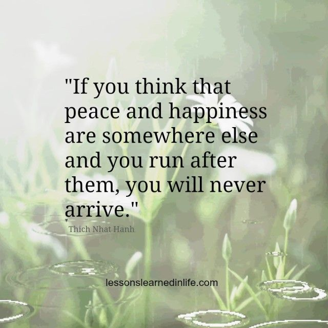 """If you think that peace and happiness are somewhere else and you run after them, you will never arrive."" -Thich Nhat Hanh..*"