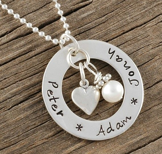 Jewelry, personalized hand stamped washer necklace with heart charm and pearl, $46, by divinestampings