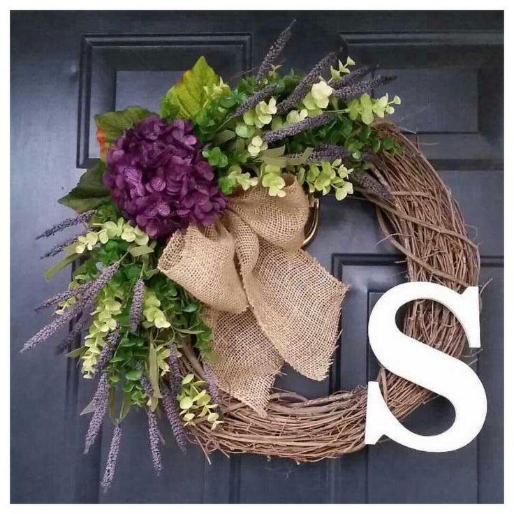 HYDRANGEA Wreath, Wreath with Eucalyptus, Green Wreath, Purple Wreath by AutumnWrenDesigns on Etsy https://www.etsy.com/listing/221990142/hydrangea-wreath-wreath-with-eucalyptus