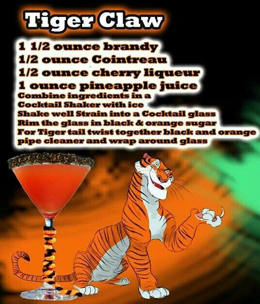 Tiger claw. Disney theme drinks