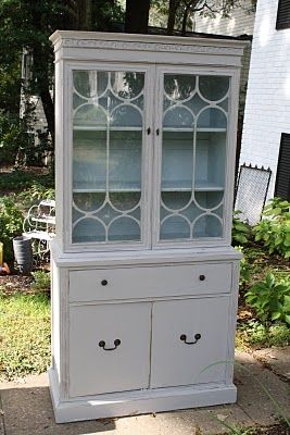 Primitive & Proper: China Cabinet Reveal pale gray and blue-green