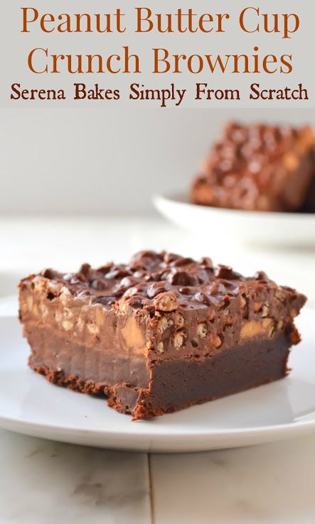Peanut Butter Cup Crunch Brownies   www.serenabakessimplyfromscratch.com