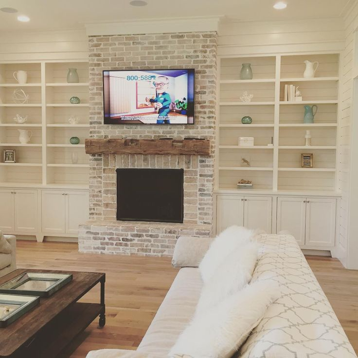 lovely fireplace & mantel . IG our_coastal_farmhouse .