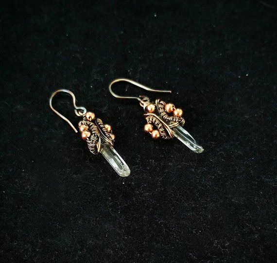 Wire Wrapped Quartz Crystal Point Wand Earrings Https Www Etsy Com Listing 691143807 Clear Quartz Crystal Wand Clear Quartz Crystal Crystal Wand Clear Quartz