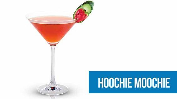 The Hoochie Moochie recipe. So I'm quite upset that the Australian Midori site turned into Midori world and lost a bunch of drink recipes in the process. Luckily I had this one written down, as its really nice.      Hoochie Moochie    30ml Midori   30ml vodka   30ml cranberry juice   Strawberries    Cucumber wheel      Muddle 2 strawberries in cocktail shaker. Add Midori, vodka and cranberry juice, shake vigorously.  Strain into cocktail glass and garnish with strawberry and cucumber wheel.
