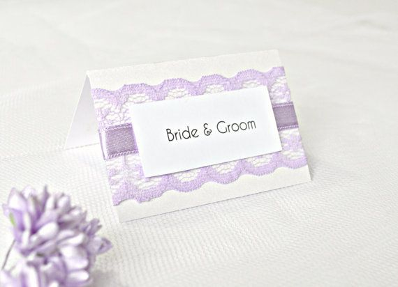 Lilac lace wedding place cards Lavender by JasmineWeddingPrints