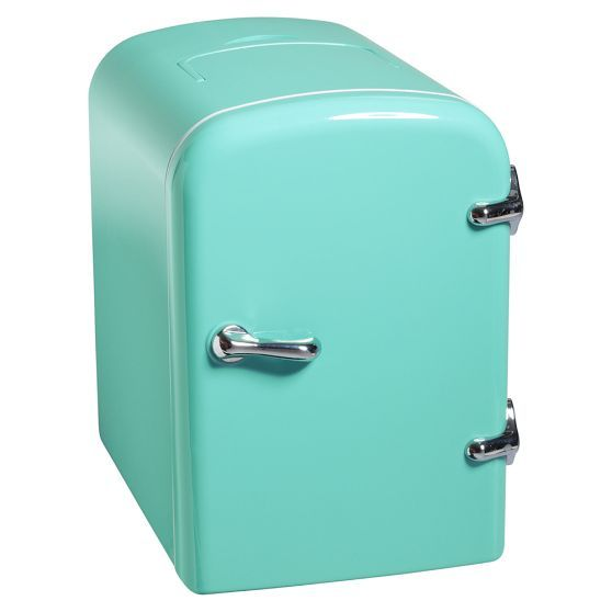 Mini Cooler | PBteen..perfect for keeping my yogurt right in my room..and small enough to hide (: