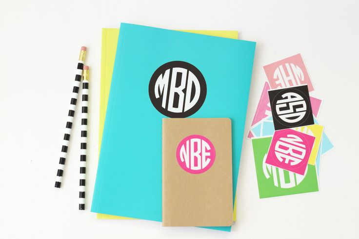 Personalized Round Monogram Stickers Kids Name Labels Custom School Supplies Notebook Label Monogram Folder Stickers Back to School Labels by WhenitRainsPaper on Etsy https://www.etsy.com/listing/385206760/personalized-round-monogram-stickers