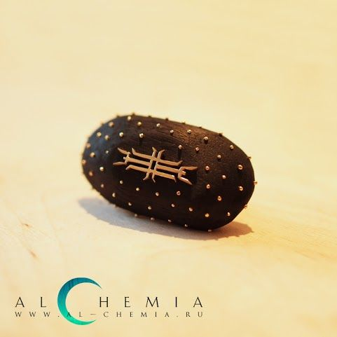 The Mandala of the Sage pendant.14K gold, black hornbeam. Handmade by Alchemia Jewellery.