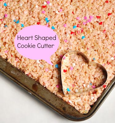 Use a heart shaped cookie cutter in your rice kripies for a fun Valentine treat