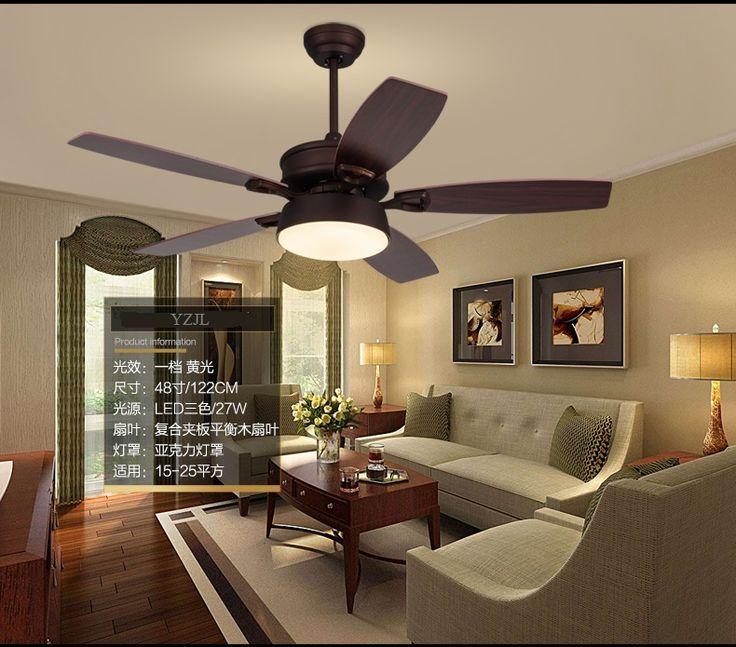 American retro ceiling fan lights Eastern Mediterranean restaurant fan ceiling lamp bedroom Idyll Northern Europe LED fan 48inch