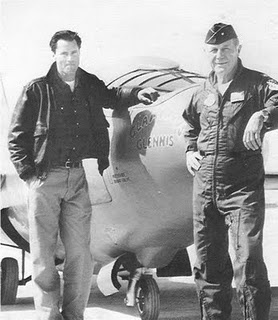 """Sam Shephard (as Chuck Yeager) with Chuck Yeager in """"The Right Stuff"""" via http://vjnt.blogspot.com/2011/05/right-stuff-1983-46-5.html"""