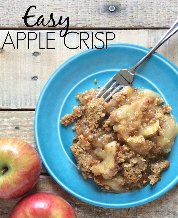 A super easy and delicious apple crisp recipe. You'll love the mix of warm apples, cinnamon/sugar and crumbly topping, especially warm from the oven!