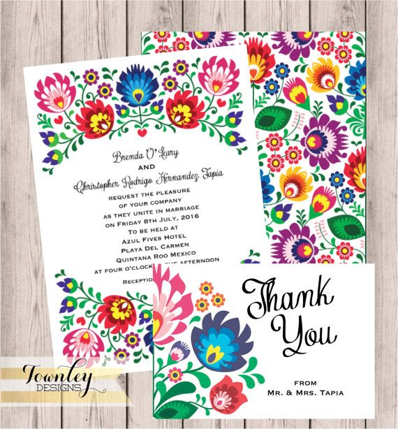 Floral Folk Fiesta Wedding Invitation Fiesta Wedding Invitation Hispanic Mexican Wedding Wedding Suit Rsvp Card Thank You Card