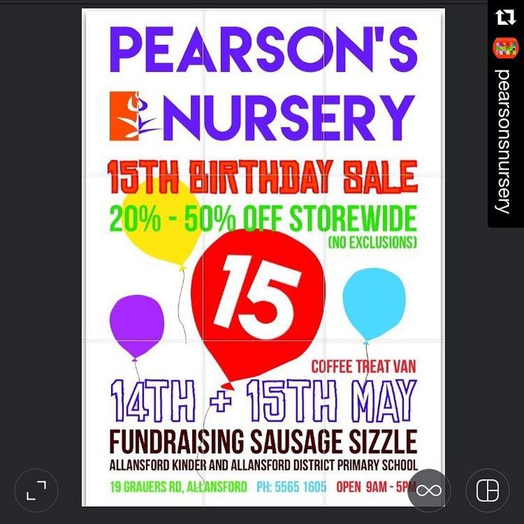 #Repost @pearsonsnursery  Here it is finally  Next weekend is our 15th birthday & we are celebrating in style 20-50% off storewide (no exclusions) sausage sizzle & Coffee treat Van  #comecelebrate #bargains #noexclusions #pearsonsnurserybirthday #coffee #sausagesizzle #15thbirthday #sharetowin #prizesinstore @destinationwarrnambool #destinationwarrnambool #love3280 #coffee3280 by destinationwarrnambool