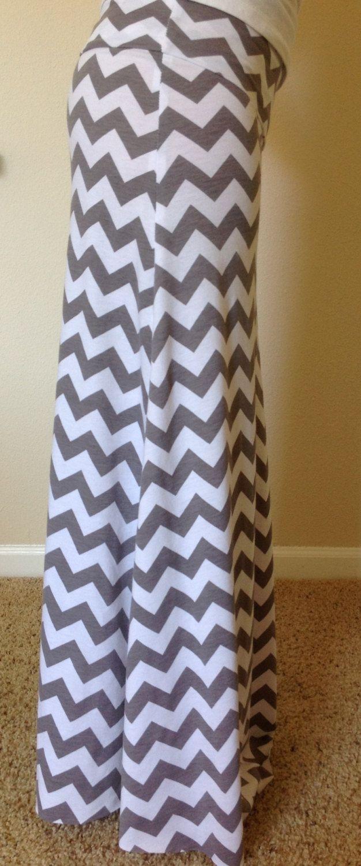 Gray and white Chevron maxi skirt summer skirt by SeasonsApparel, $45.00