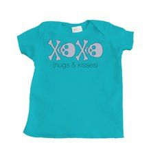 Pirate Hugs and Kisses Design Kid's Infant T-Shirt (Turquoise Blue)