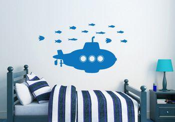 Onderzeeër met vissen muursticker kinderen jongens decor sticker vinyl kunst aan de muur decor sticker 76*43cm