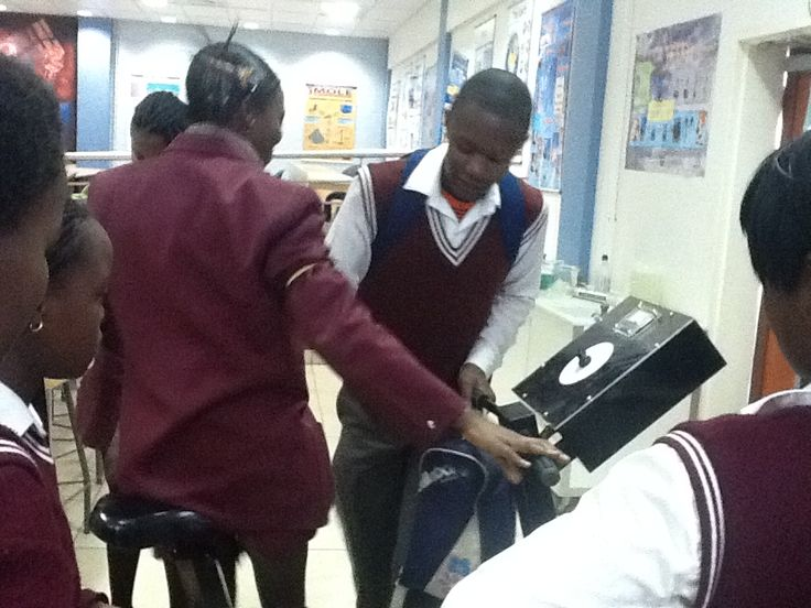 Learners exploring exhibits in the science centre.