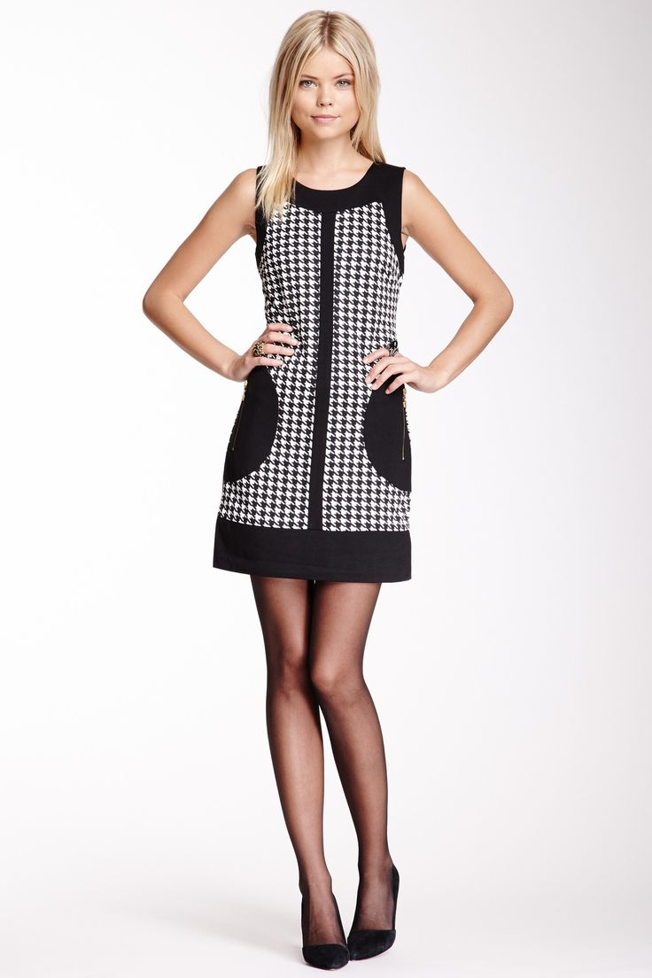 Houndstooth Print Colorblock Dress