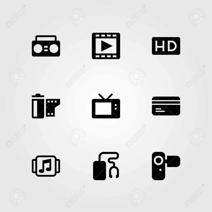 Technology vector icons set. camera, film roll and television , #sponsored, #icons, #set, #Technology, #vector,