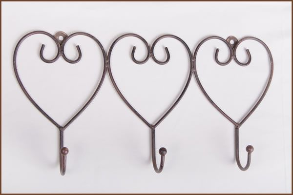 Garden and Home Decor Shop 3 Hook Hearts Rust    36x5x18cm