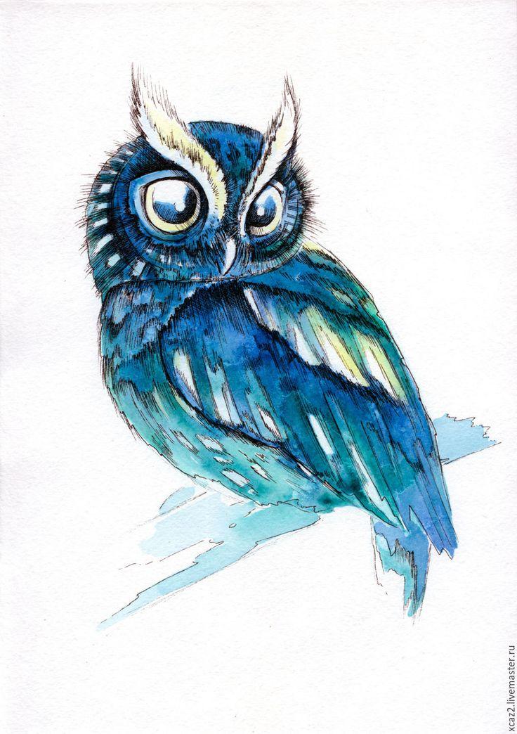 Купить Сова 3 - синий, иллюстрация, сова, ручная работа, цветная графика, акварель, линер