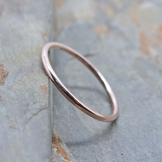 Simple Thin 14k Rose Gold Wedding Band in Choice of by brightsmith
