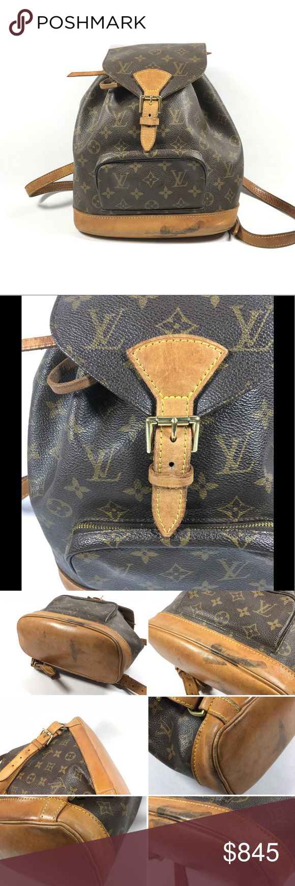 Authentic Louis Vuitton Backpack No lowballing, no trade.  Made in France   Serial number: SP0090  Gently used condition  Light aging, rub marks and minor marks on the monogram canvas. Stains, rub marks, rubbing, scratches and patina on the bottom leather trim. Shoulder straps show wrinkles, uneven coloring, rubbing and light stains. Outside zip pocket shows light signs of use. Darkening and rubbing on the drawstrings and top leather trim. Stains, scratches, rubs and snags on the interior…