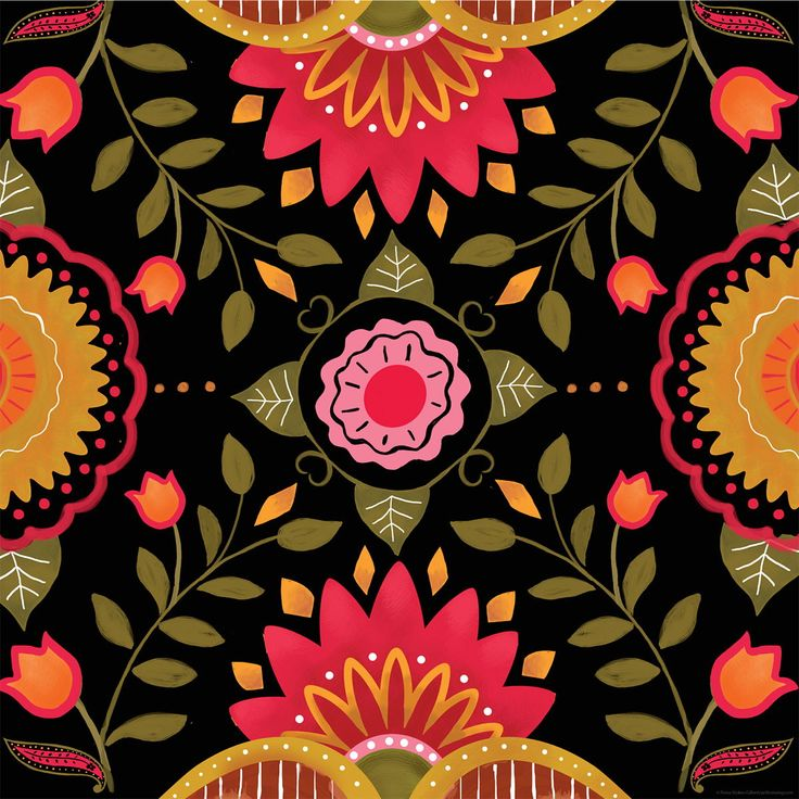 Folkloric flower pattern ikea lack table graphic hack