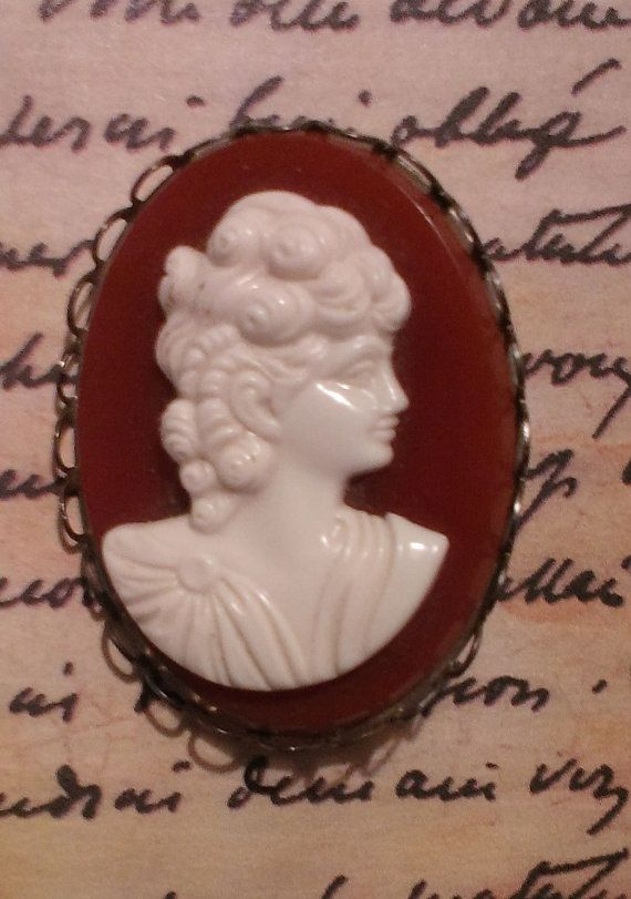 Vintage Cameo Bakelite Brooch White/Ivory by ArtsyMysticDesigns, $19.00