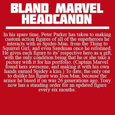 Bland Marvel Headcanons Tony's is so accurate though