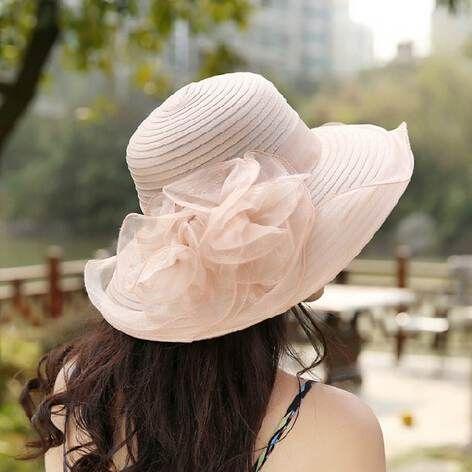 Flower silk hat beautiful wide brim sun hats UV package