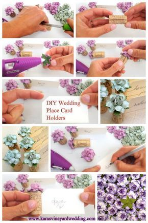 Includes a DIY video for making Single Wine Cork Place Card Holders using handmade flowers by Kara's Vineyard Wedding.  Affordable wedding Place Card Table idea!