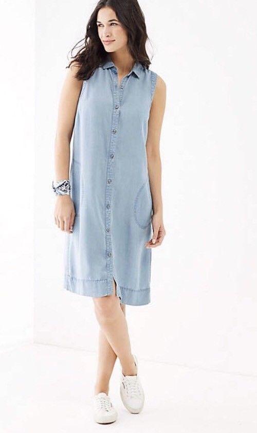 ef5a35250ad  DenimDress J Jill Dress Denim Shirt Dress Tencel Button Up Sleeveless  Chambray XS - Denim Dress  22.98 End Date  Sunday Dec-2-2018 8 06 03 PST  Buy It Now ...