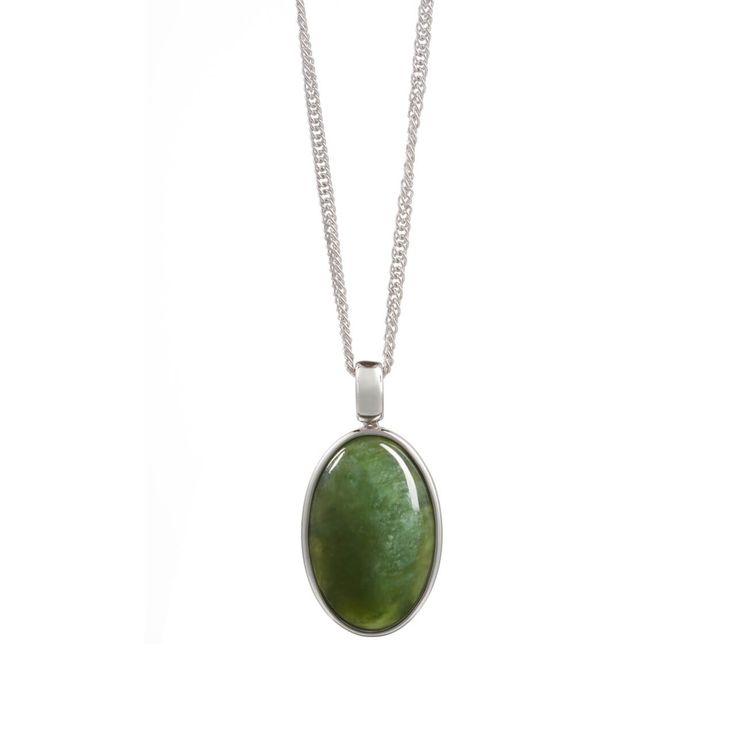 New Zealand Pounamu Oval Necklace - It has delicate koru patterns in silver on its' back