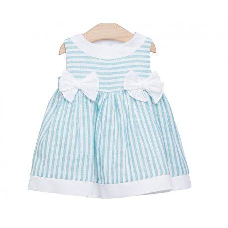 www.pepaonline.com    No puede ser más bonito! Vestido de rayas turquesas de Fina Ejerique en Vestidos para Bebé. Los vestidos para tu bebé más bonitos en esta tienda online