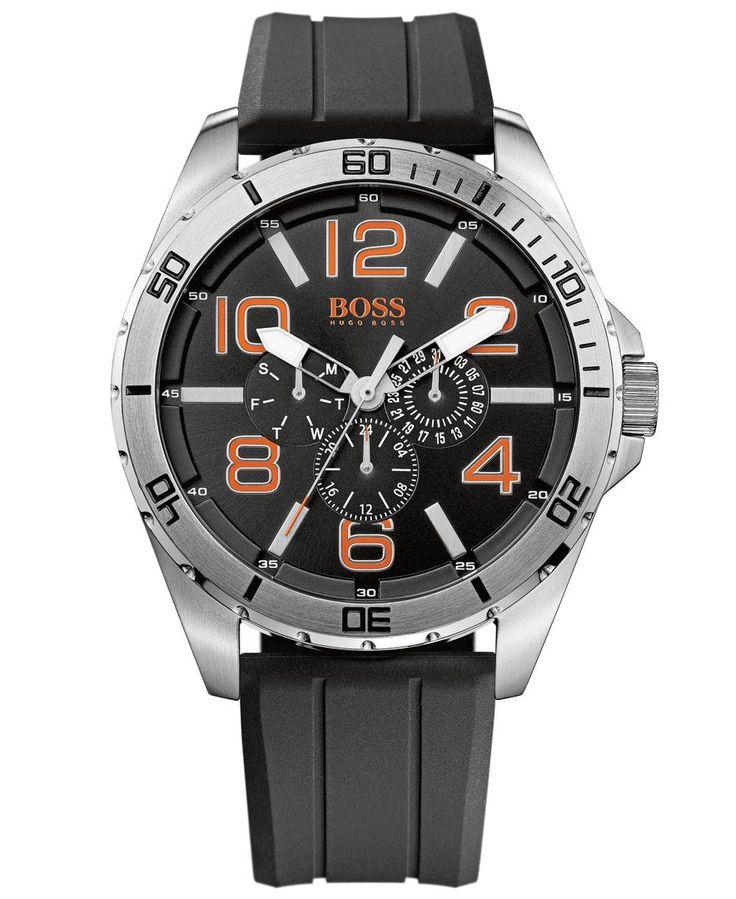 Hugo Boss Men's Boss Orange Black Silicone Strap Watch 48mm 1512945 - Men's Watches - Jewelry & Watches - Macy's
