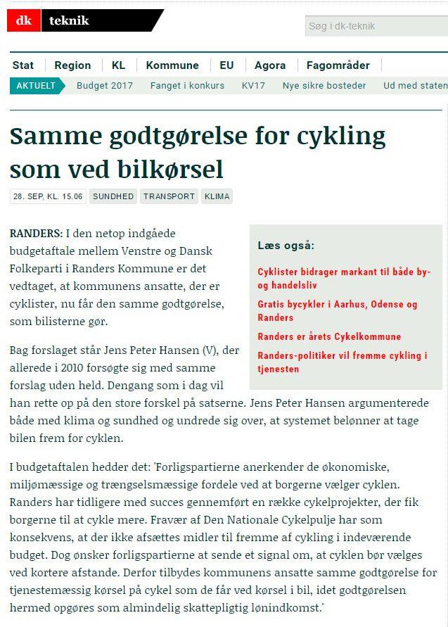 Næste skridt er at få en skattemæssig ligestilling mellem cykling og bilkørsel. Sådan som det er i Norge (2 Nkr/km og England (20 p/km)