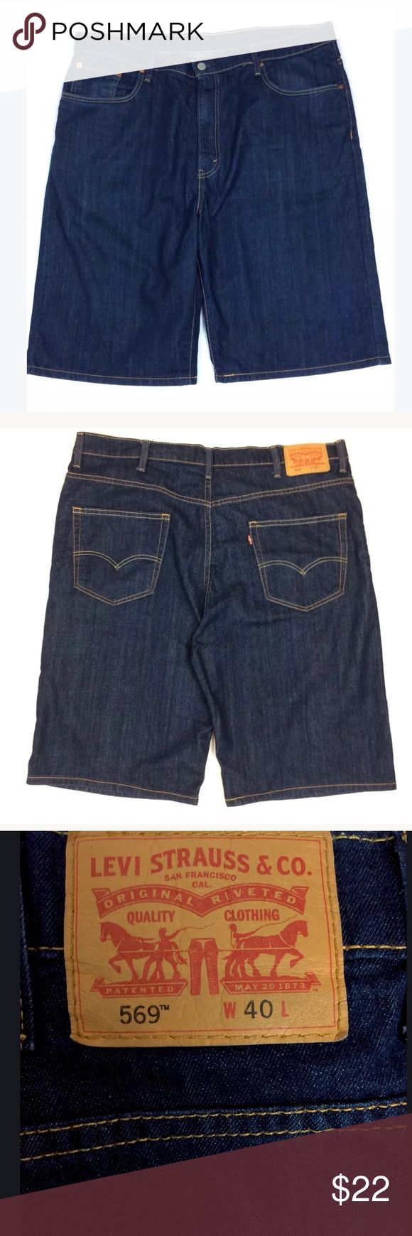 """🔥Men's Levi's 569 Denim Shorts Dark Wash 40 Waist Men's Levi's 569 Denim Shorts  Dark Wash  Waist: 40""""  Inseam: 11""""  Rise: 13.5""""  Length: 26"""" waist to bottom  Color: Blue  3 front pockets and 2 rear pockets  78% Cotton, 16% Polyester, 2% Elastane  The shorts are in good condition. Thank you for viewing this listing! Levi's Shorts Jean Shorts"""