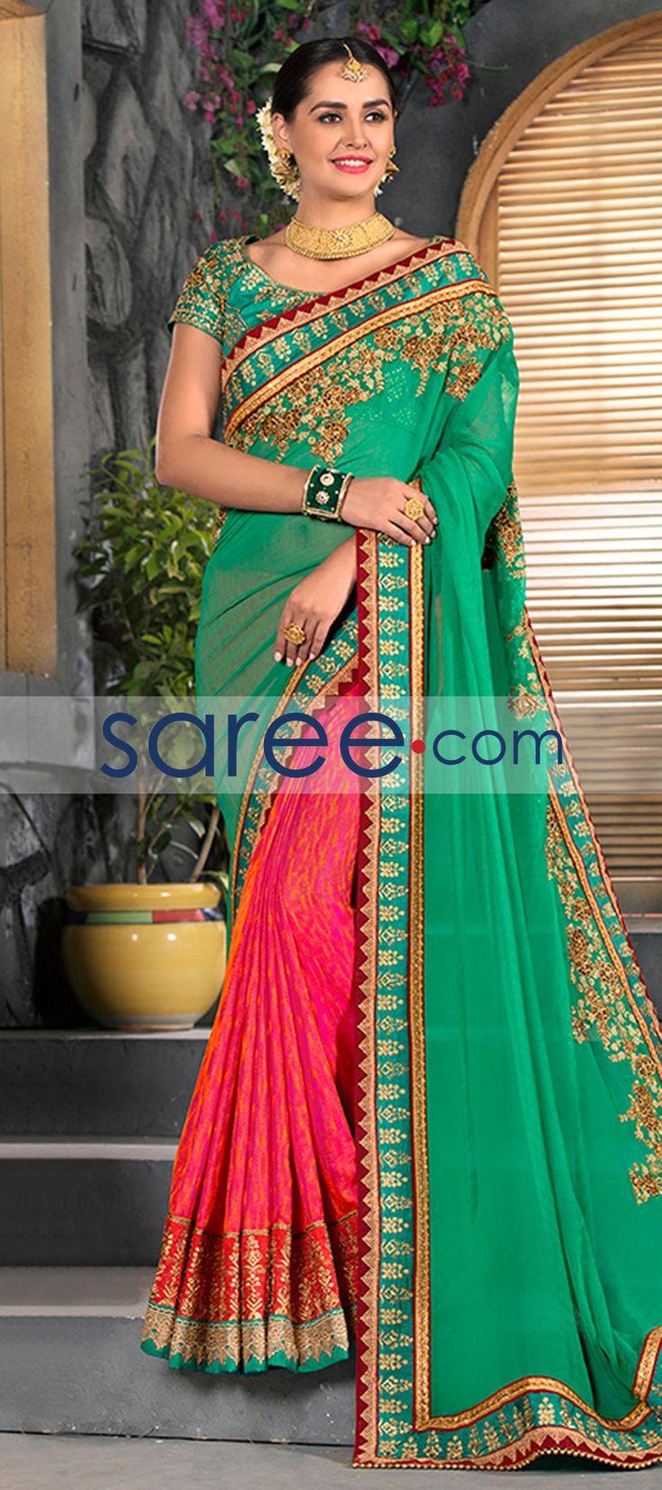 GREEN AND PINK CHIFFON SAREE WITH EMBROIDERY WORK  #Saree #GeorgetteSarees #IndianSaree #Sarees #PartywearSarees #DesignerSarees #SareeFashion