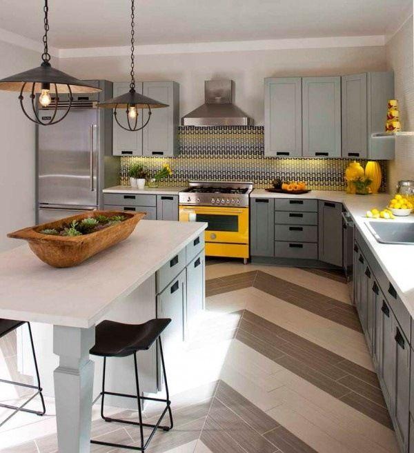 Wohnideen für die Küche eklektisch grau gelb holz dekor