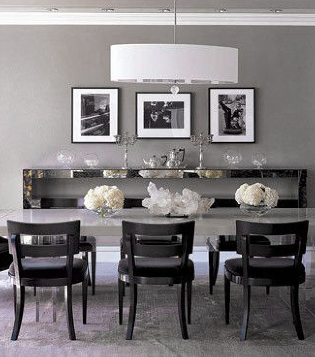 Monique lhuillier elle decor dove gray home decor monique lhullier 39 s grey dining room in Grey home decor pinterest