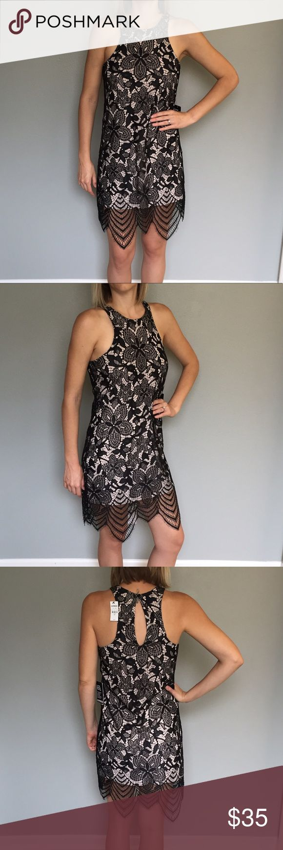 Gorgeous NWT little black lace dress This dress is subtly sexy with an edge! New with tags, never been worn black lace dress from express. Black lace overlays a nude slip layer. Super light and comfortable with a fun, almost-racer back cut. Shell: 100% nylon. Lining: 100% polyester. Express Dresses Mini