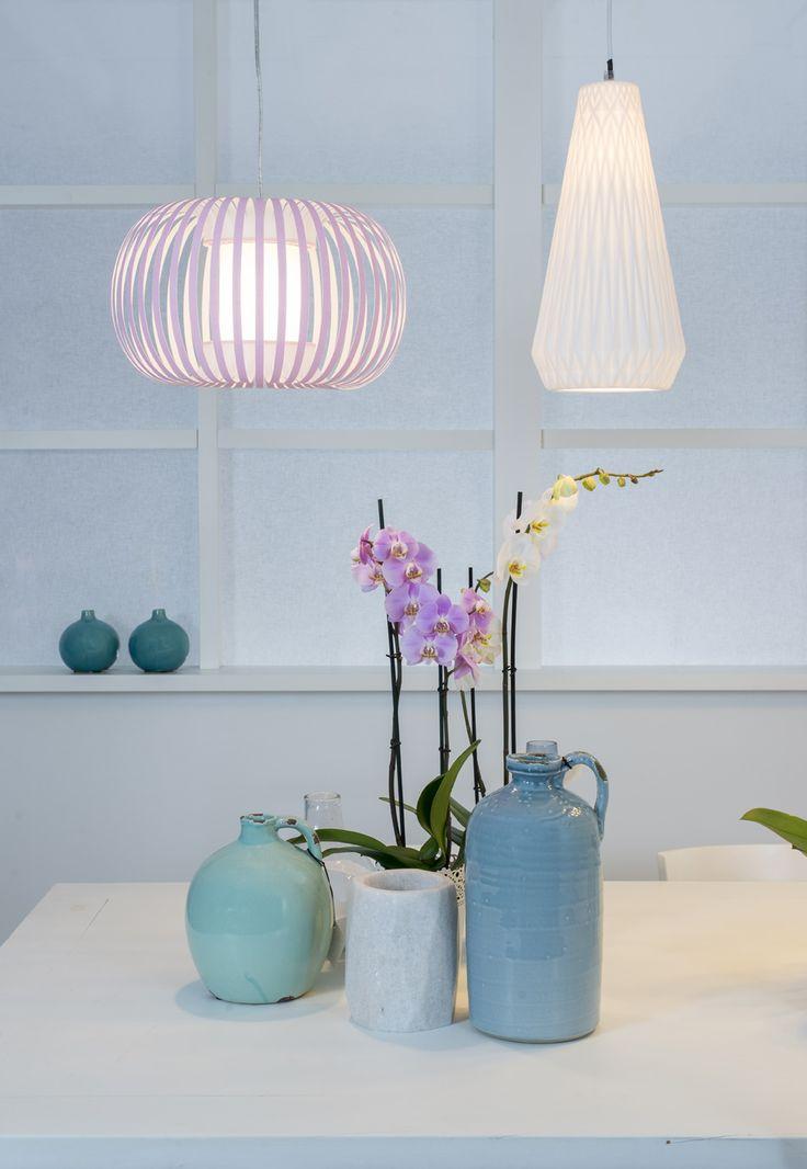 Laurie lumière luminaires éclairage suspension blanche en céramique découpes géométriques suspension