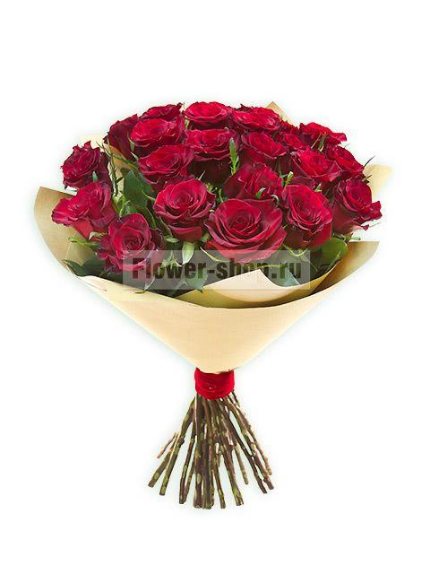 Букет из бордовых роз с доставкой по Москве / Flower-shop.ru - служба доставки цветов