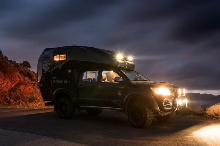Great Photos of a 4 x4 unique in the world, this Toyota hi-Lux was designed specifically for a swiss photographer Stefan Forster, on the occasion of an expedition in Iceland.  #campingcar #motorhome #camper #campervan #autocaravana #autocaravane